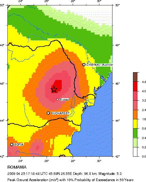 harta de risc seismic pentru Romania