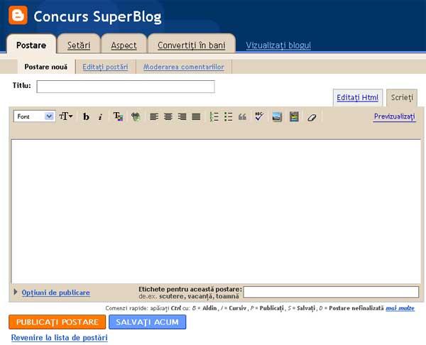 scrie un post pe blogspot