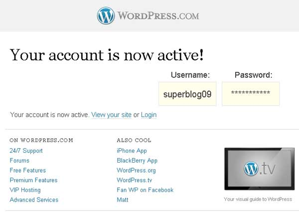 blog wordpress activ