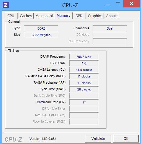 ASUS TAICHI CPU-Z Memorii