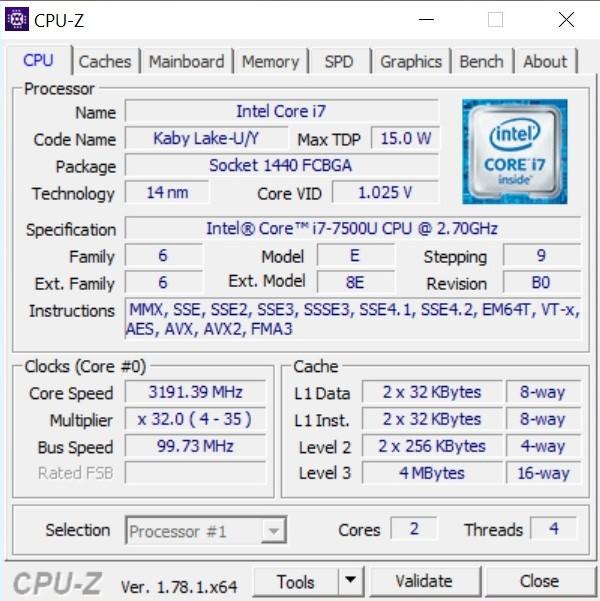 ASUS VivoBook S15 S510UN - CPUZ