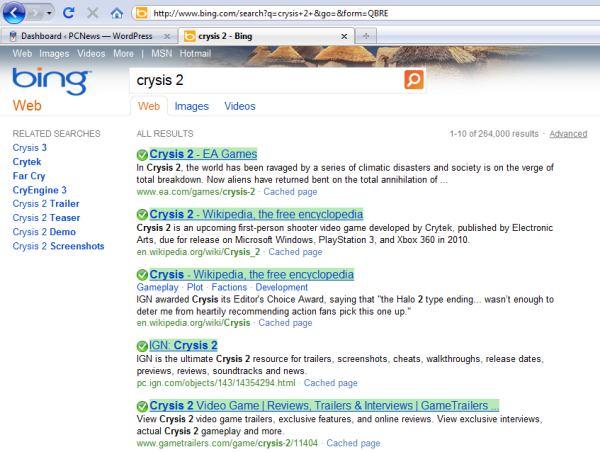 bing crysis search