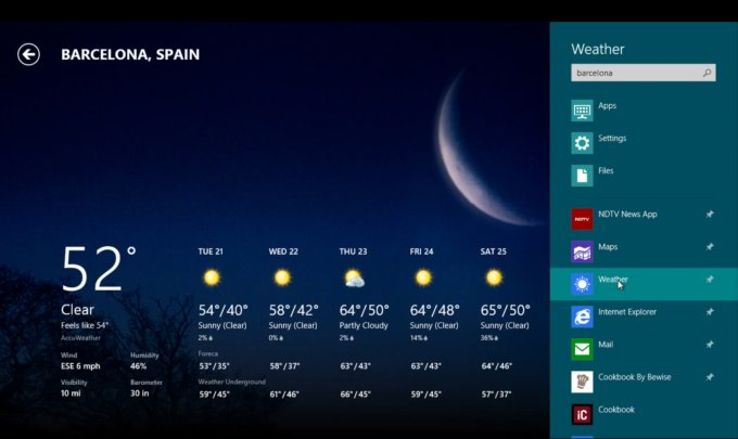 windows 8 meteo