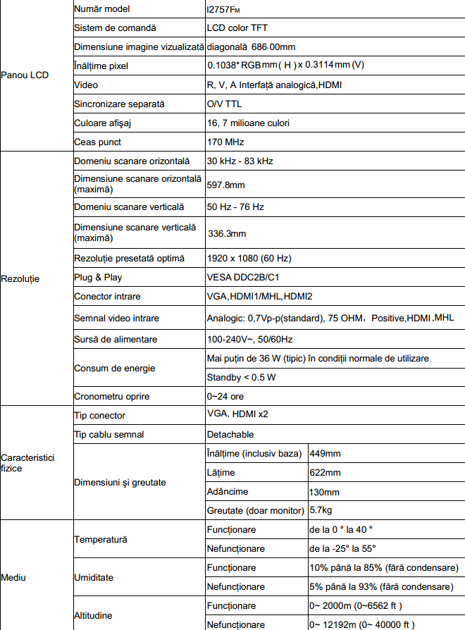 Specificatii AOC myPlay i2757Fm