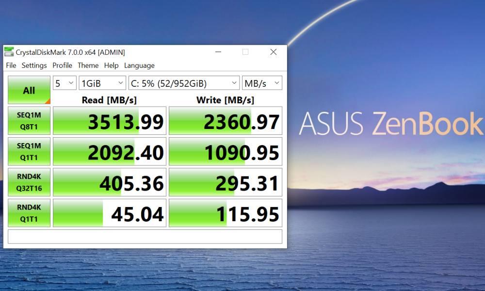 CrystalDiskMark ASUS ZenBook UX325JA