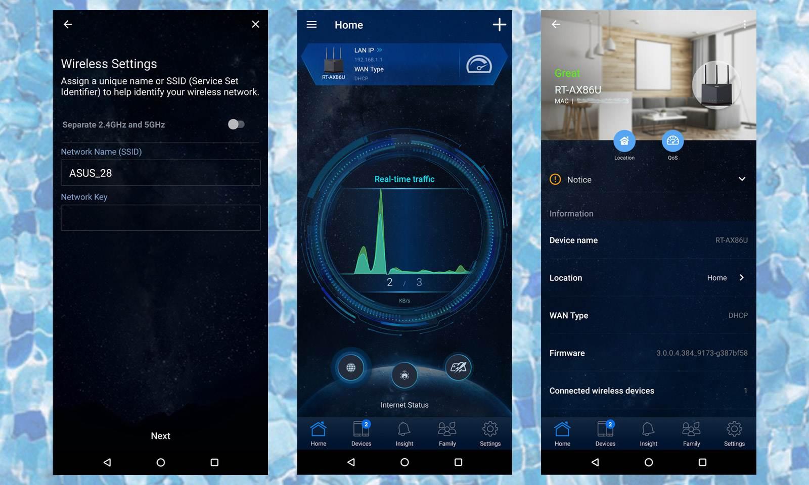 Interfața aplicației mobile ASUS Router