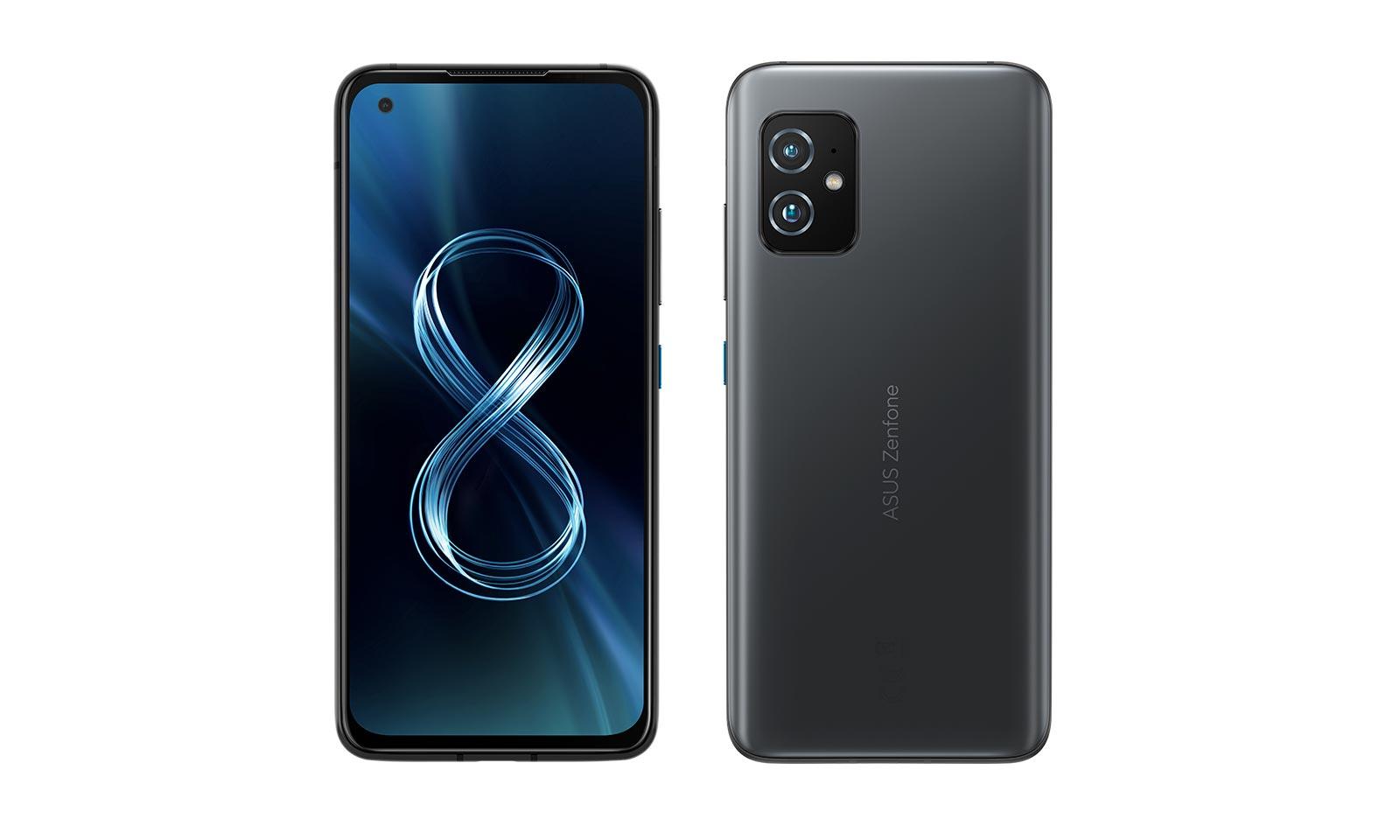 Telefonul Zenfone 8 pe față și spate