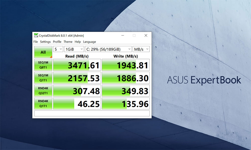 Test CrystalDiskMark pentru SSD-urile din ASUS B9450